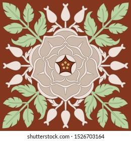 Isolated vector illustration. Square floral decor. Wild rose mandala. Vintage style.