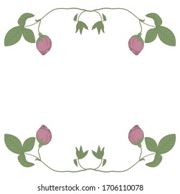 Isolated vector illustration. Square floral background. Botanical decor with beautiful rosebud branches.