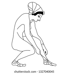 Isolated vector illustration. Squatting ancient Greek girl tying her sandal. Black and white linear silhouette.