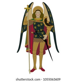 Isolated vector illustration of St. Archangel Michael. Based on ancient painting.