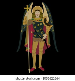 Isolated vector illustration of St. Archangel Michael. Based on ancient painting. On black background.
