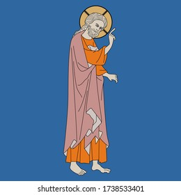 Isolated vector illustration. Standing Jesus Christ with pointing gesture. Christian icon. Medieval art. Illuminated manuscript decor.