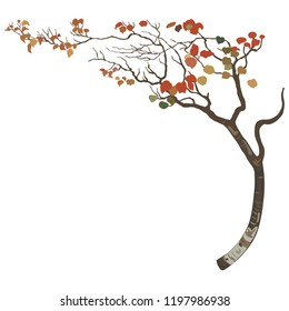 Isolated vector illustration. Stylized autumn tree with bent trunk. Flat cartoon style.