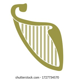 Isolated vector illustration. Stylized Celtic harp. Monochrome gold and white silhouette.