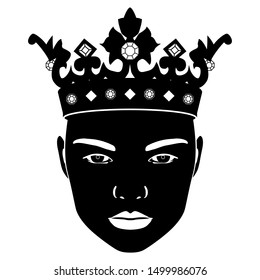Isolated vector illustration. Stylized female face in royal crown. Black and white silhouette.