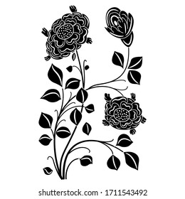 Isolated vector illustration. Stylized rose branch. Beautiful floral motif. Folk style. Black and white silhouette.