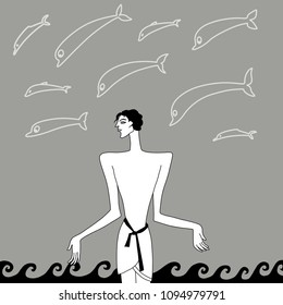 Isolated vector illustration. Stylized silhouettes of an ancient young man, sea waves and dolphins. Old Greek or Cretan Minoan style. Atlantis. Based on hand drawn original style art.
