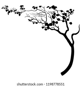Isolated vector illustration. Stylized tree with bent trunk or tree branch. Black silhouette on white background.