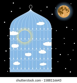 Isolated vector illustration. Sunny day inside bird's cage and starry night wth full moon outside it. Juxtaposition of opposites.