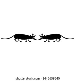 Isolated vector illustration. Symmetrical animal decor with silhouettes of two stylized shrews or rats in royal crowns. Black and white silhouette.