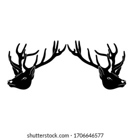Isolated vector illustration. Symmetrical animal decor with two deer heads with antlers. Black and white silhouette.
