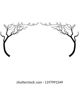 Isolated vector illustration. Symmetrical floral decor or frame with ornate stylized bare trees with bent trunks. Black silhouette on white background. Vintage style.