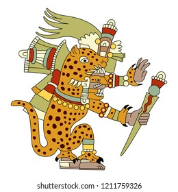Isolated vector illustration. Tepeyollotl or Tepeyollotli. Fantastic feline monster. Aztec god Tezcatlipoca. Mexican mythology. Based on ancient codex image.
