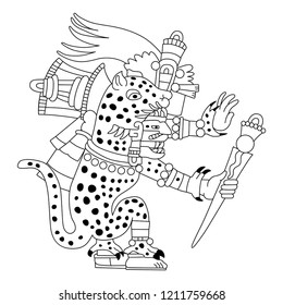 Isolated vector illustration. Tepeyollotl or Tepeyollotli. Fantastic feline monster. Aztec god Tezcatlipoca. Mexican mythology. Based on ancient codex image. Black and white linear silhouette.