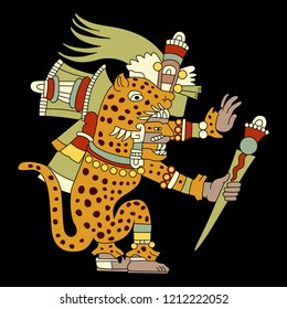 Isolated vector illustration. Tepeyollotl or Tepeyollotli. Fantastic feline monster. Aztec god Tezcatlipoca. Mexican mythology. Based on ancient codex image. Cartoon style. On black background.