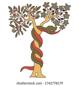 Isolated vector illustration. Tree of the knowledge of good and evil. Serpent snake in Eden garden. Biblical Christian symbol. Apple fruit of sin.