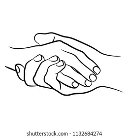 Isolated vector illustration of two clasped human hands. Hand drawn linear sketch. Black silhouette on white background.
