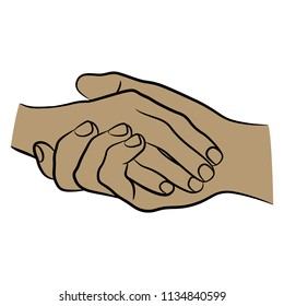 Isolated vector illustration of two clasped human hands. Business or friendly handshake. Hand drawn linear sketch. Black silhouette on white background.