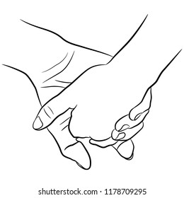 Isolated vector illustration. Two clasped human hands. Friends or lovers. Symbol of relationships. Hand drawn linear sketch. Black silhouette on white background.