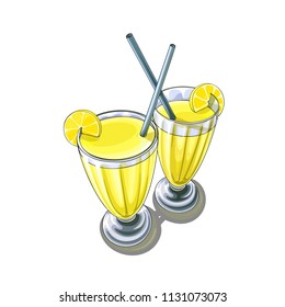 Isolated vector illustration of two high glasses of lemon cocktail with pieces of fruit.