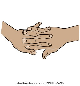 Isolated vector illustration. Two human Caucasian hands with intertwined fingers. Cartoon style.