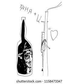 Isolated vector illustration. Two tragic lovers. Suicidal drug addicted dead girl and alcoholic man. Teenage problems. Hand drawn linear sketch. Black silhouette on white background.