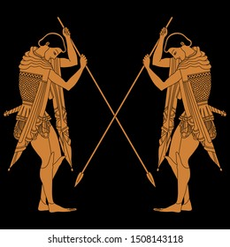 Isolated vector illustration. Two young ancient Greek warriors with crossed spears. Vase painting style. On black background.