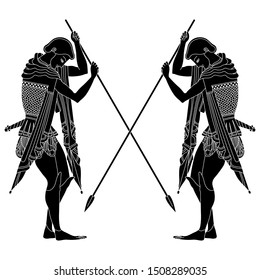 Isolated vector illustration. Two young ancient Greek warriors with crossed spears. Black and white silhouette.