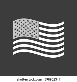 Isolated vector illustration of  the Unites States of America waving flag