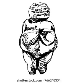 Isolated vector illustration. Venus of Willendorf. Paleolithic goddess figurine. Great Mother archetype. Based on hand drawn sketch.