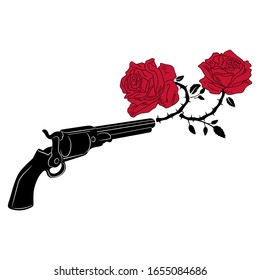 Isolated vector illustration. Vintage revolver shooting with red roses. Romantic concept for love.