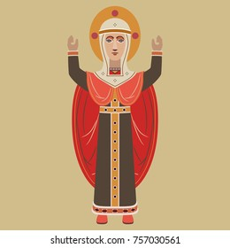 Isolated vector illustration of the Virgin Mary in folk Russian style. Based on ancient Novgorod wooden sculpture. Flat cartoon style.