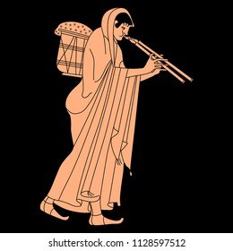 Isolated vector illustration. Walking ancient Greek woman in long dress carrying a heavy basket and playing the double flute. Based on vase painting motif. On black background.