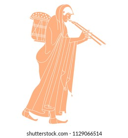 Isolated vector illustration. Walking ancient Greek woman in long dress carrying a heavy basket and playing the double flute. Based on vase painting motif.