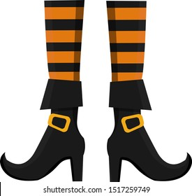 Isolated vector illustration of witch boots on white. Halloween illustration of witch boots