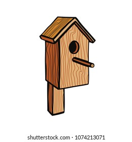 Isolated vector illustration with wooden birdhouse on a white background