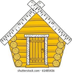 Isolated vector illustration - wooden hut - cartoon style