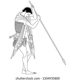 Isolated vector illustration. Young ancient Greek warrior with a spear. Vase painting style. Black and white linear silhouette.