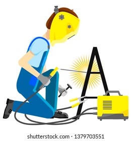 Isolated vector image. Flat design. The man working the welder is sitting. Welds metal structures. The welding machine is yellow. The man in the welding mask, jumpsuit and gloves