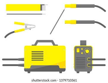 Isolated vector image. Flat design. Welding machine with electrode holder and clamp. Front and side view. Packing of welding electrodes
