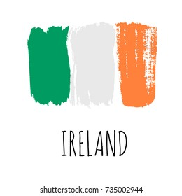 Isolated vector Irish Flag, designed using brush strokes.