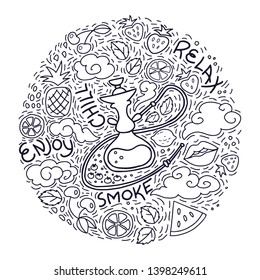 Isolated vector line art for hookah shisha bar or shop, for poster, sticker or menu design