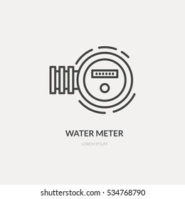 Isolated vector logo design with water meter - text can be easily changed for your company name. Vector line series.
