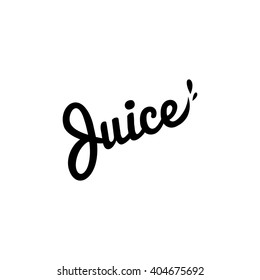 Isolated vector logo. Fresh juice drop lettering. Eco drink organic product simple flat text. Black writing logotype