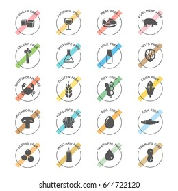 Isolated Vector Logo Set Badge Ingredient Warning Label. Colorful Allergens icons. Food Intolerance