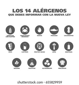 "Isolated Vector Logo Set Badge Ingredient Warning Label. Black and white Allergens icons. Food Intolerance. ""The 14 allergens you should report with the new law"" written in Spanish"
