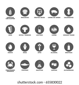 Isolated Vector Logo Set Badge Ingredient Warning Label. Black and white Allergens icons. Food Intolerance. Written in Spanish