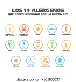 "Isolated Vector Logo Set Badge Ingredient Warning Label. Colorful Allergens icons. Food Intolerance. ""The 14 allergens you should report with the new law"" written in Spanish"