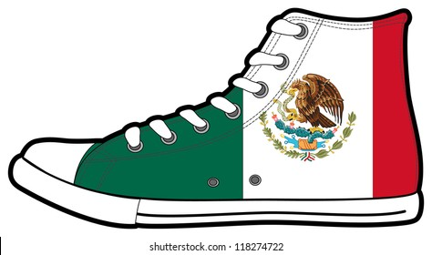 The isolated vector modern sneakers with Mexico flag