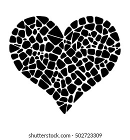 Isolated vector mosaic heart. Black mosaic heart. Design element for greeting card, invitation, poster.